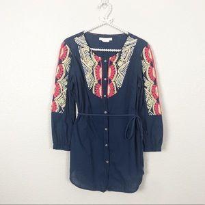 Anthro Hei Hei Embroidered Tunic Button Down sz 12